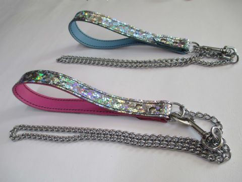 Unicorn Holographic One Inch wide Leather & Chain Leash